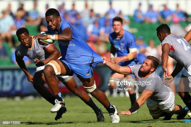 Isireli Naisarani of the Force attempts to break from a tackle during the round seven Super Rugby match between the Force and the Kings at nib...