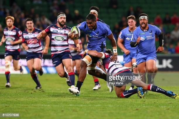 Isireli Naisarani of the Force runs the ball during the round 16 Super Rugby match between the Force and the Rebels at nib Stadium on July 7 2017 in...