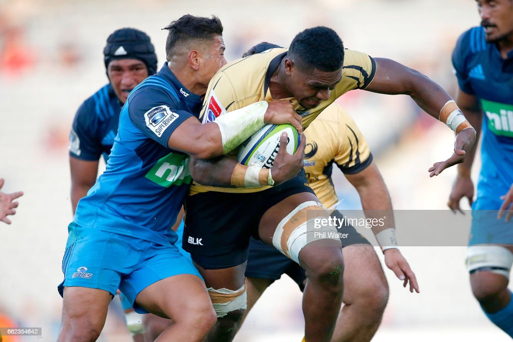 Isireli Naisarani of the Western Force is tacked during the round six Super Rugby match between the Blues and the Force at Eden Park on April 1, 2017 in Auckland, New Zealand.
