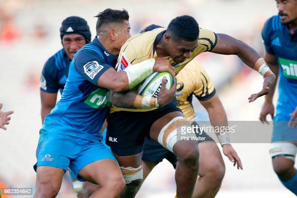 Isireli Naisarani of the Western Force is tacked during the round six Super Rugby match between the Blues and the Force at Eden Park on April 1 2017...