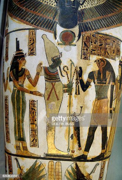 Isis and Horus honouring mummiform Osiris detail of sarcophagus Egyptian civilisation Cairo Egyptian Museum