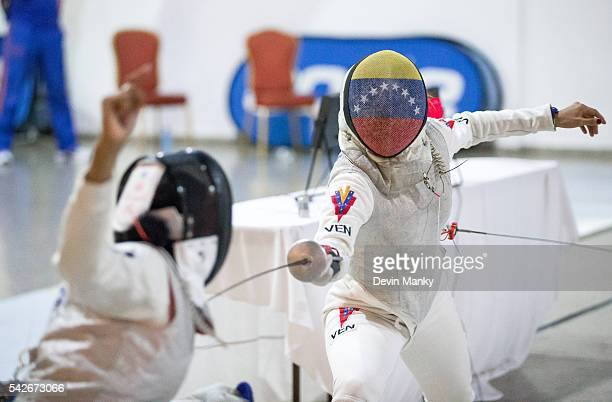 Isis Gimenez of Venezuela fences in the initial rounds of the Women's Foil competition at the PanAmerican Fencing Championships on June 23 2016 at...