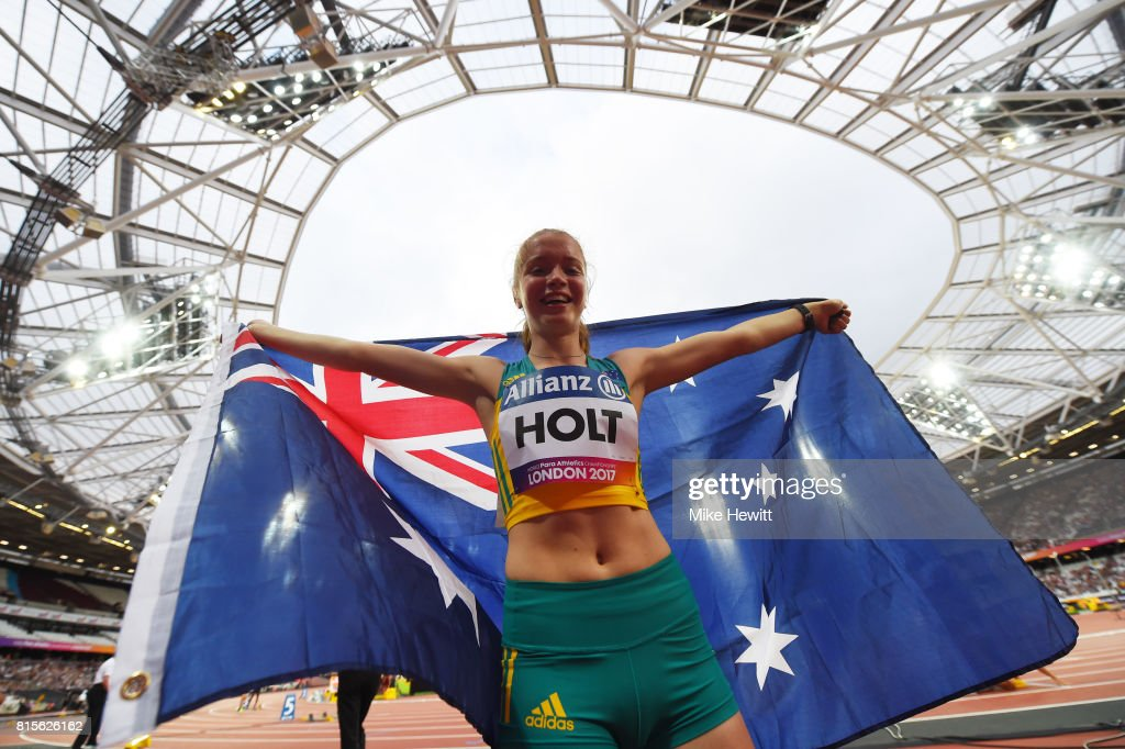 Isis Holt of Australia celebrates winning the Women's 200m T35 Final during day three of the IPC World ParaAthletics Championships 2017 at the London Stadium on July 16, 2017 in London, England.