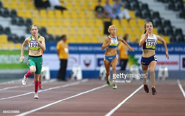 Isis Holt of Australia competes with Maria Lyle of Great Britain in the women's 200m T35 final during the Evening Session on Day Three of the IPC...