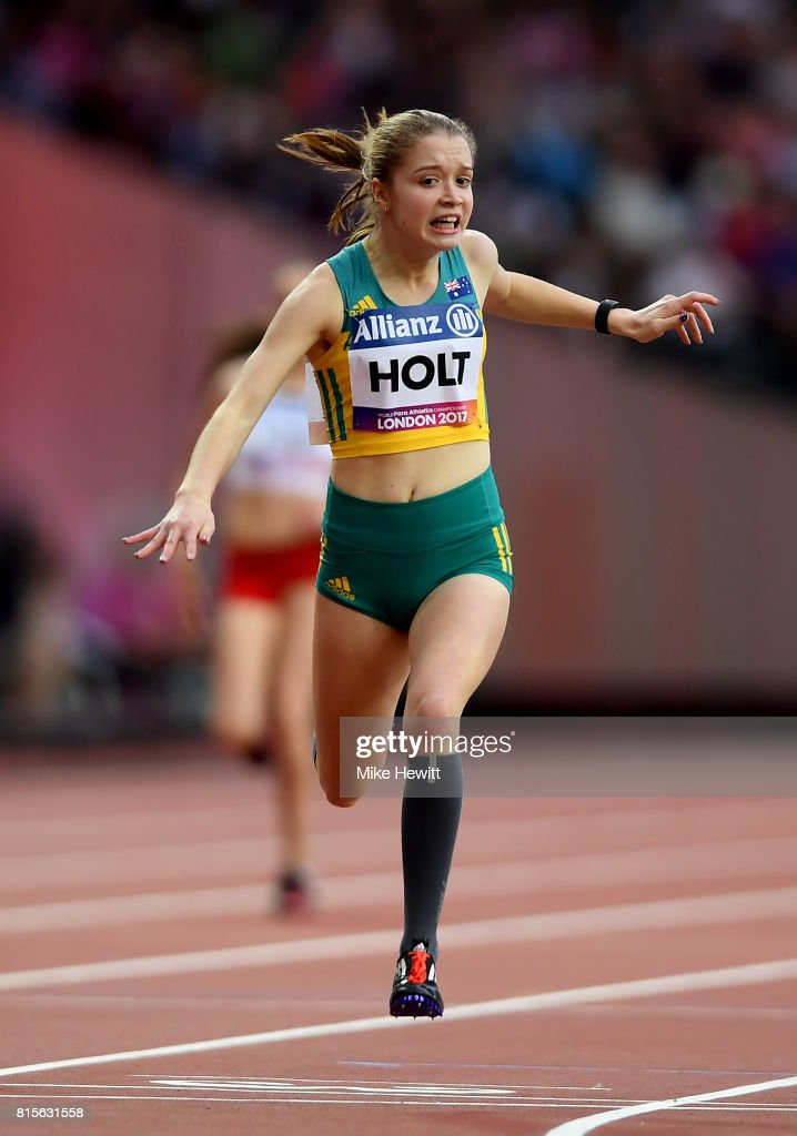 Isis Holt of Australia crosses the line to win the Women's 200m T35 Final during day three of the IPC World ParaAthletics Championships 2017 at the London Stadium on July 16, 2017 in London, England.
