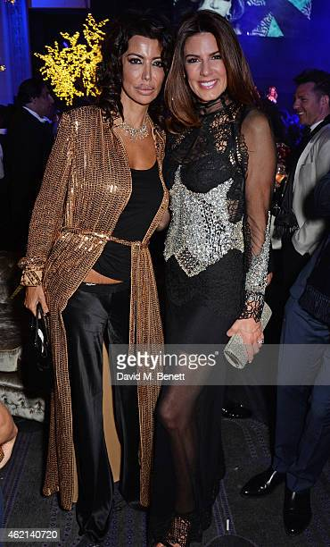 Isis Monteverde and Christina Estrada Juffali attend Lisa Tchenguiz's 50th birthday party at the Troxy on January 24 2015 in London England