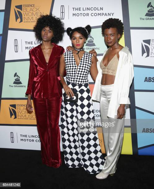 Isis Valentino Janelle Monae and Alexe Belle of St Beauty attend the 8th Annual Essence Black Women In Music Event at NeueHouse Hollywood on February...