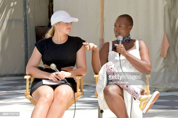 Iskra Lawrence and Cacsmy 'Mama Cax' Brutus speak during the Aerie Swim 2018 panel during the Paraiso Fashion Fair at the Plymouth Hotel Miami on...
