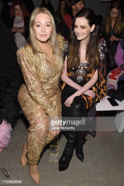 Iskra Lawrence and Lydia Hearst attend the The Blonds front row during New York Fashion Week The Shows at Gallery I at Spring Studios on February 12...