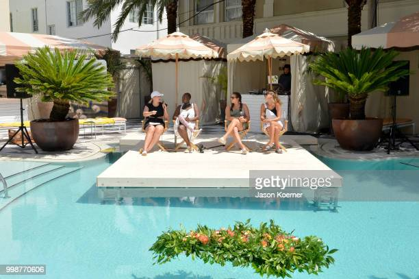 Iskra Lawrence Cacsmy 'Mama Cax' Brutus Sarah Tripp and Nina Agdal speak during the Aerie Swim 2018 panel during the Paraiso Fashion Fair at the...