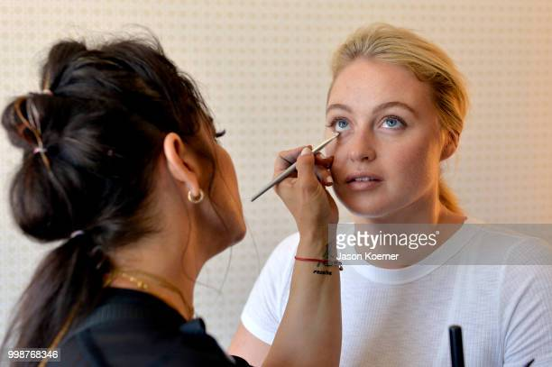 Iskra Lawrence prepares backstage during the Aerie Swim 2018 panel during the Paraiso Fashion Fair at the Plymouth Hotel Miami on July 14 2018 in...