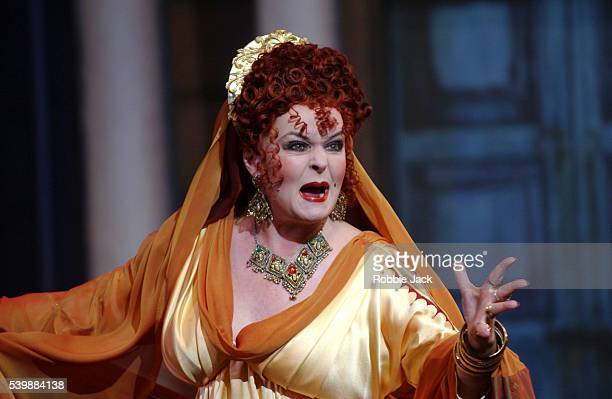 Isla Blair in a production of A Funny Thing Happened on the Way to the Forum by Stephen Sondheim at the Royal National Theatre in London.