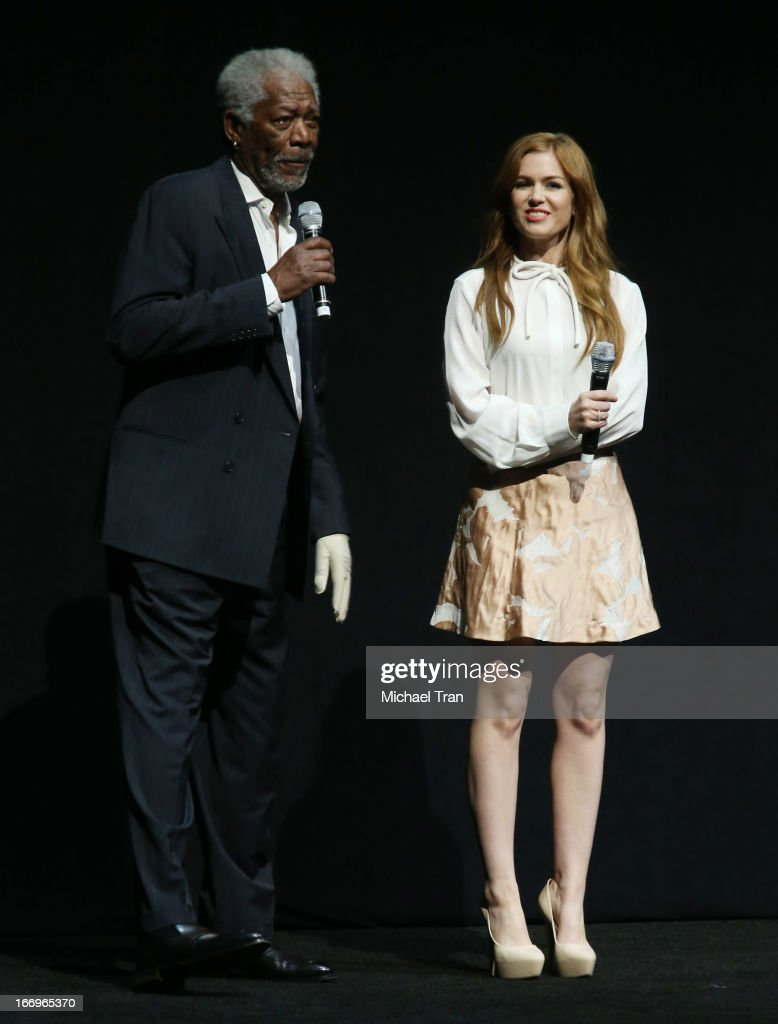 Isla Fisher and Morgan Freeman (L) speak at a Lionsgate presentation to promote their upcoming film, 'Now You See Me' held at Caesars Palace during CinemaCon, the official convention of the National Association of Theatre Owners, on April 18, 2013 in Las Vegas, Nevada.
