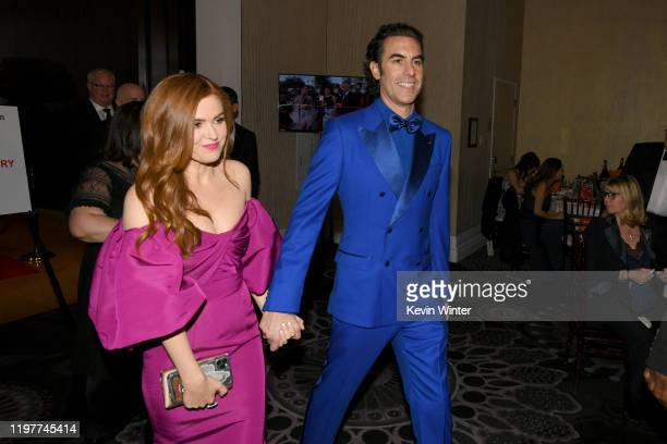 Isla Fisher and Sacha Baron Cohen attend the 77th Annual Golden Globe Awards Cocktail Reception at The Beverly Hilton Hotel on January 05, 2020 in...