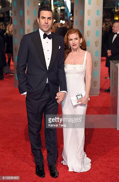 Isla Fisher and Sacha Baron Cohen attend the EE British Academy Film Awards at The Royal Opera House on February 14 2016 in London England