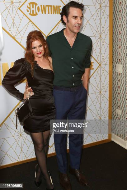 Isla Fisher and Sacha Baron Cohen attend the Showtime Emmy eve nominees celebrations at San Vincente Bungalows on September 21, 2019 in West...