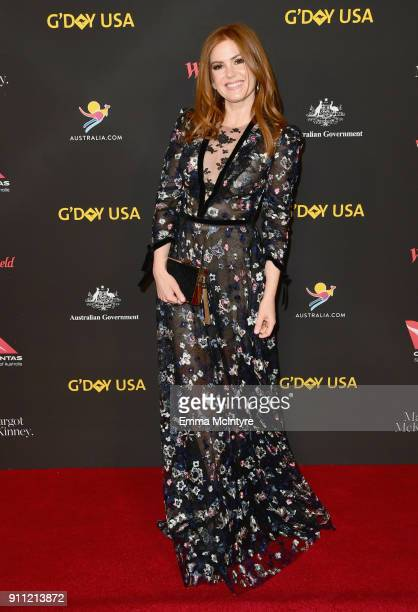 Isla Fisher attends 2018 G'Day USA Los Angeles Black Tie Gala at InterContinental Los Angeles Downtown on January 27 2018 in Los Angeles California
