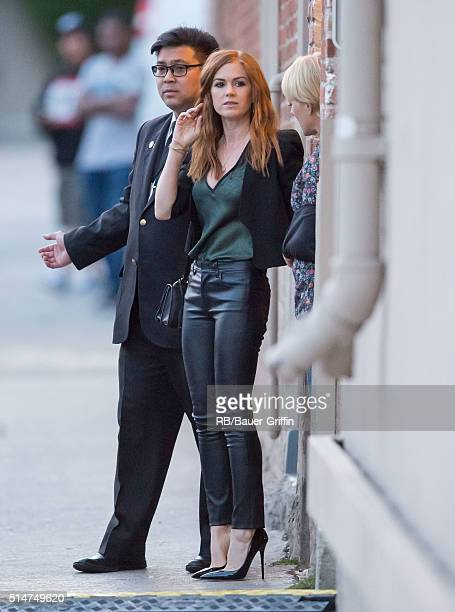 Isla Fisher is seen at 'Jimmy Kimmel Live' on March 10 2016 in Los Angeles California