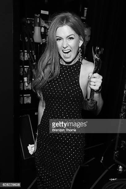 Isla Fisher reacts after winning the Trailblazer Award backstage during the 6th AACTA Awards Presented by Foxtel at The Star on December 7 2016 in...