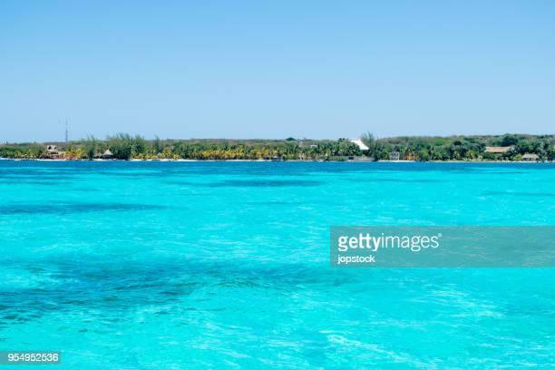 isla mujeres coastline - mujeres fotos stockfoto's en -beelden