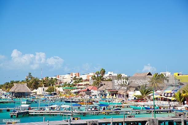 isla mujeres island boat harbor, tourist destination near cancun, mexico - cancun stock photos and pictures