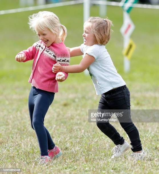 Isla Phillips and Mia Tindall attend day 3 of the Whatley Manor Horse Trials at Gatcombe Park on September 9 2018 in Stroud England