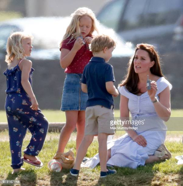 Isla Phillips Savannah Phillips Prince George of Cambridge and Catherine Duchess of Cambridge attend the Maserati Royal Charity Polo Trophy at the...
