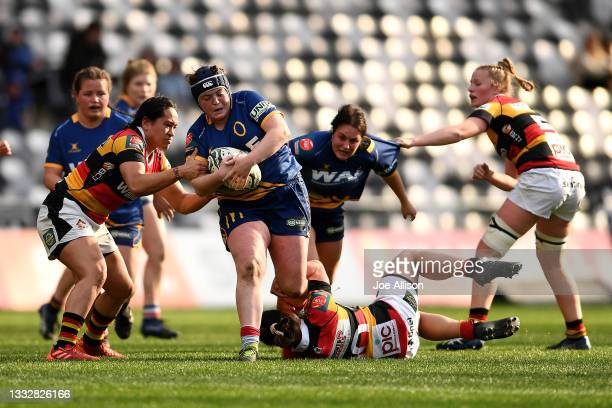 Isla Pringle of the Otago Spirit attempts to break through the defence during the round four Farah Palmer Cup match between Otago and Waikato at...