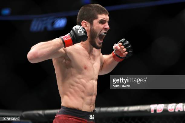 Islam Makhachev celebrates his first round knockout against Gleison Tibau in their Lightweight fight during UFC 220 at TD Garden on January 20 2018...
