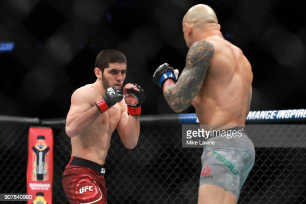 Islam Makhachev fights Gleison Tibau in their Lightweight fight during UFC 220 at TD Garden on January 20 2018 in Boston Massachusetts