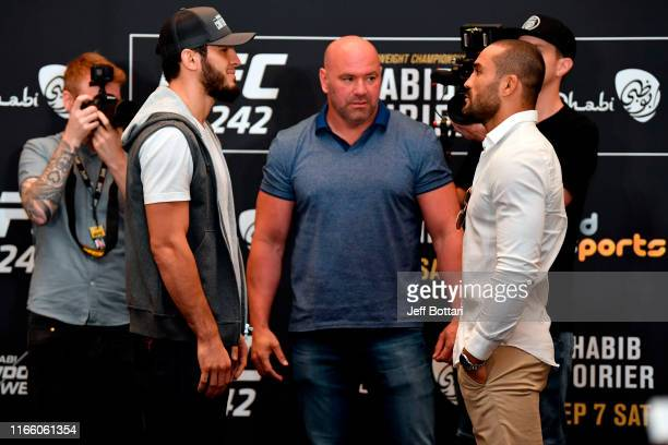 Islam Makhachev of Russia and Davi Ramos of Brazil face off during the UFC 242 Ultimate Media Day at the Yas Hotel on September 5 2019 in Abu Dhabi...