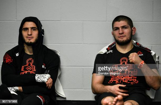 Islam Makhachev of Russia and Khabib Nurmagomedov of Russia wait backstage during the UFC 220 event at TD Garden on January 20 2018 in Boston...