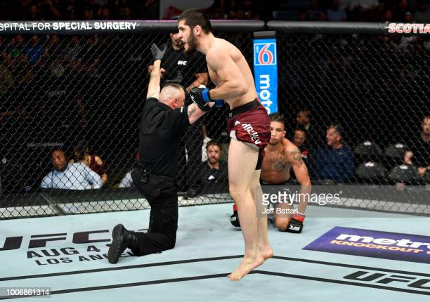 Islam Makhachev of Russia celebrates after his submission victory over Kajan Johnson of Canada in their lightweight bout during the UFC Fight Night...