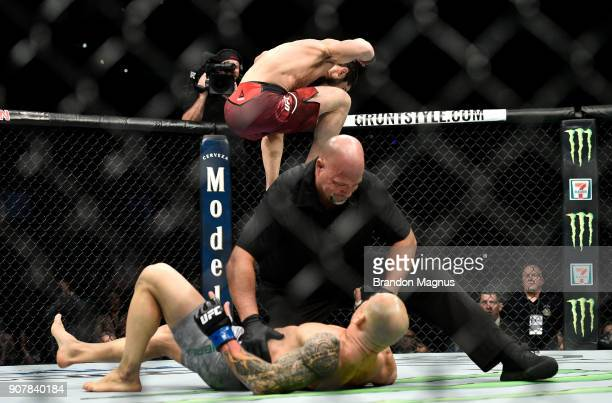 Islam Makhachev of Russia celebrates his TKO over Gleison Tibau of Brazil in their lightweight bout during the UFC 220 event at TD Garden on January...