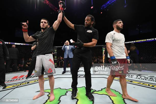 Islam Makhachev of Russia celebrates his victory over Arman Tsarukyan of Russia in their lightweight bout during the UFC Fight Night event at...