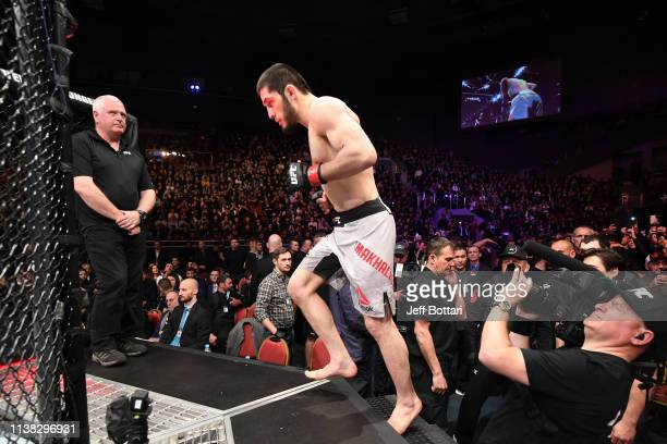 Islam Makhachev of Russia enters the Octagon prior to his lightweight bout against Arman Tsarukyan of Russia during the UFC Fight Night event at...