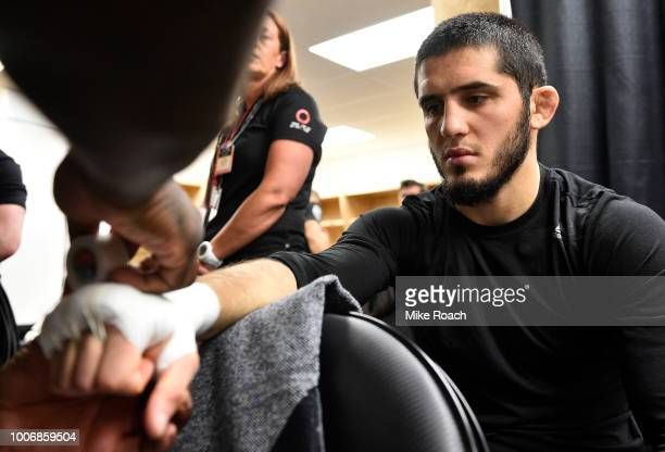 Islam Makhachev of Russia has his hands wrapped backstage prior to his bout against Kajan Johnson during the UFC Fight Night event at Scotiabank...