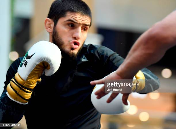 Islam Makhachev of Russia holds an open training session for fans and media at Yas Mall on September 4 2019 in Abu Dhabi United Arab Emirates