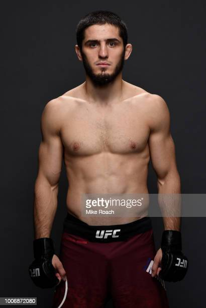 Islam Makhachev of Russia poses for a portrait backstage after his victory over Kajan Johnson during the UFC Fight Night event at Scotiabank...