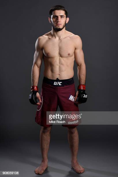 Islam Makhachev of Russia poses for a portrait backstage after his victory over Gleison Tibau during the UFC 220 event at TD Garden on January 20...