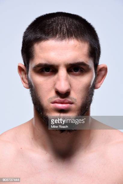Islam Makhachev of Russia poses for a portrait during a UFC photo session on January 16 2018 in Boston Massachusetts