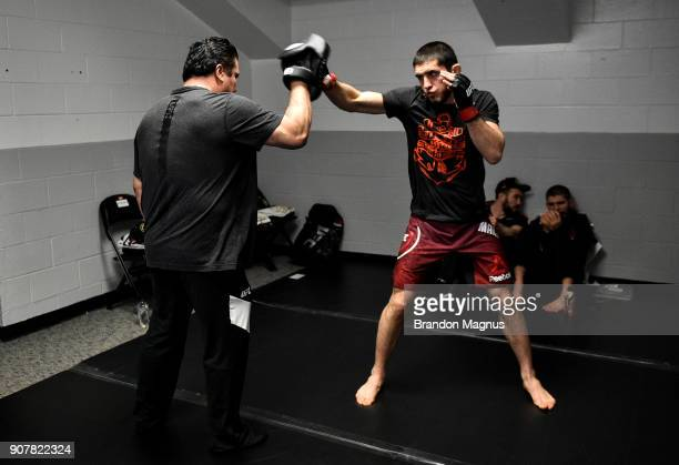 Islam Makhachev of Russia warms up backstage during the UFC 220 event at TD Garden on January 20 2018 in Boston Massachusetts