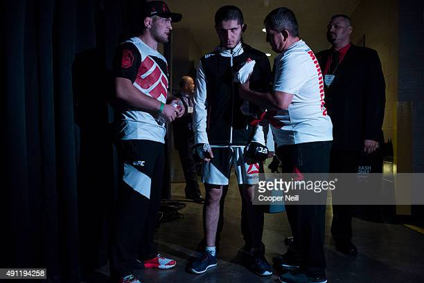 Islam Makhachev prepares to enter the Octagon before his fight against Adriano Martins during UFC 192 at the Toyota Center on October 3 2015 in...
