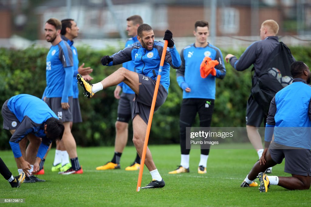Islam Slimani during the Leicester City training session at Belvoir Drive Training Complex on August 09 , 2017 in Leicester, United Kingdom.