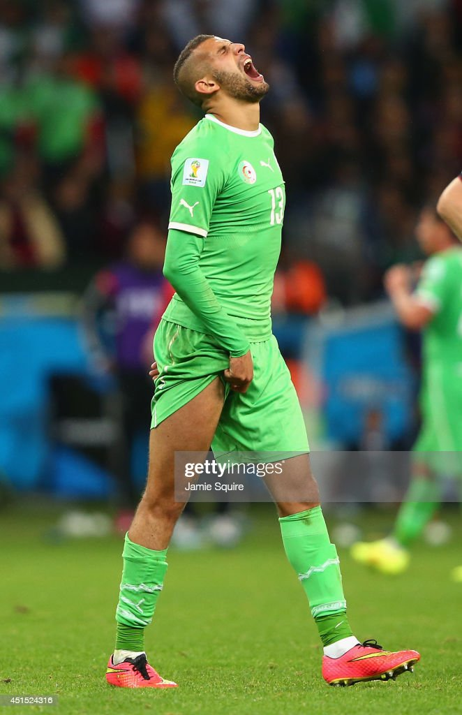 Islam Slimani of Algeria reacts during the 2014 FIFA World Cup Brazil Round of 16 match between Germany and Algeria at Estadio Beira-Rio on June 30, 2014 in Porto Alegre, Brazil.