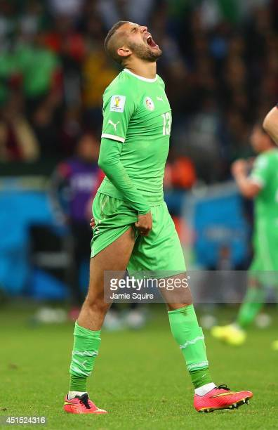 Islam Slimani of Algeria reacts during the 2014 FIFA World Cup Brazil Round of 16 match between Germany and Algeria at Estadio BeiraRio on June 30...