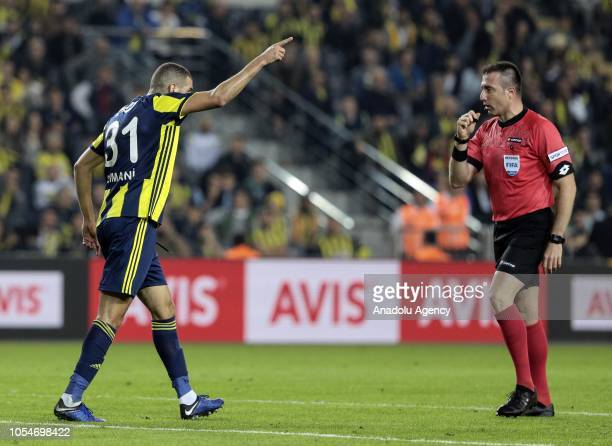 Islam Slimani of Fenerbahce objects to referee during a Turkish Super Lig soccer match between Fenerbahce and MKE Ankaragucu at Ulker Stadium in...