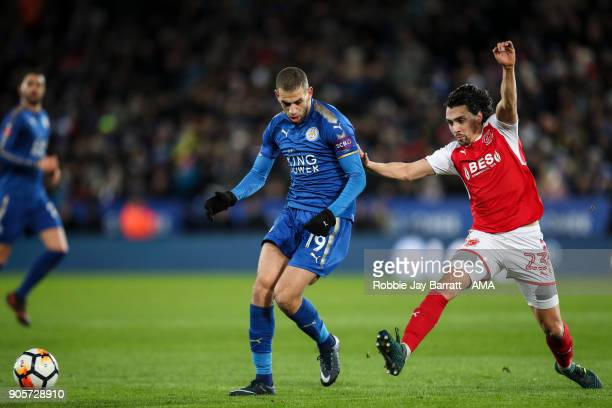 Islam Slimani of Leicester City and Markus Schwabl of Fleetwood Town during The Emirates FA Cup Third Round Replay match between Leicester City and...