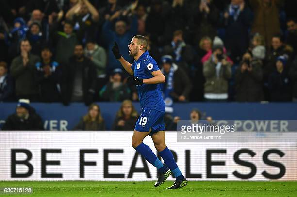 Islam Slimani of Leicester City celebrates after scoring his sides first goal during the Premier League match between Leicester City and West Ham...