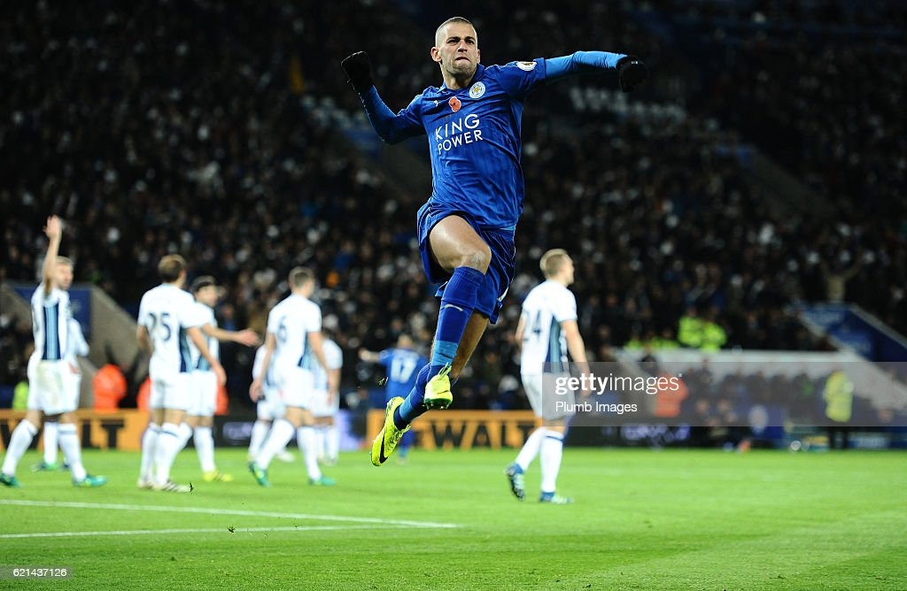 Islam Slimani of Leicester City celebrates after scoring to make it 1-1 during the Barclays Premier League match between Leicester City and West Bromwich Albion at the King Power Stadium on November 06 , 2016 in Leicester, United Kingdom.